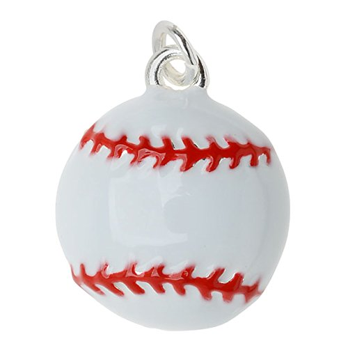 Silver Plated and Enameled Charm, Baseball 16.8x14x5mm, 1 Piece, White and Red