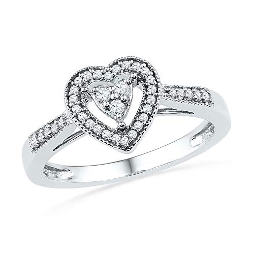 Jewel Tie Size - 9-10k White Gold Diamond Fashion Band OR Engagement Ring Heart Shaped Halo Ring (1/5 ()