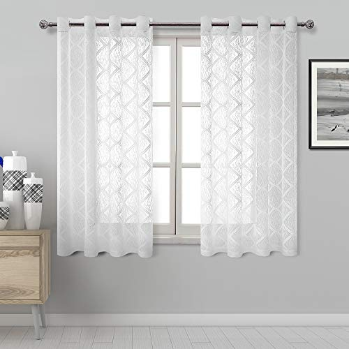 DWCN Geometric Lace Sheer Curtains - White Faux Linen Semi Voile Grommet Top Bedroom and Living Room Curtains, 52 x 63 Inch Length, Set of 2 Window Curtain Panels