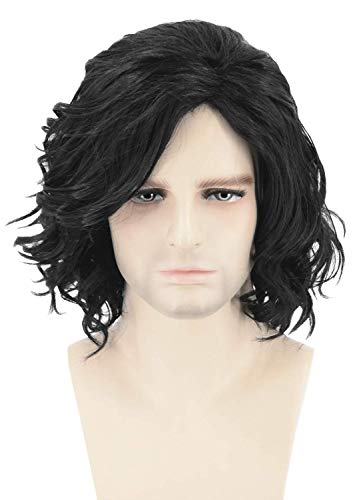 Topcosplay Mens Wig Black Short Curly Fluffy Cosplay Halloween Costume Male Wigs Adult or Children -
