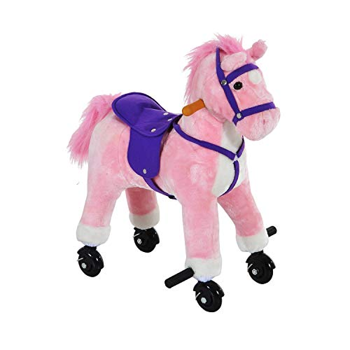 Qaba Kids Interactive Plush Mechanical Walking Ride On Horse Toy with Wheels - Pink