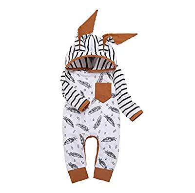 Emimarol New Born Infant Baby Girl Boy Hooded Feather Striped Romper Jumpsuit Clothes