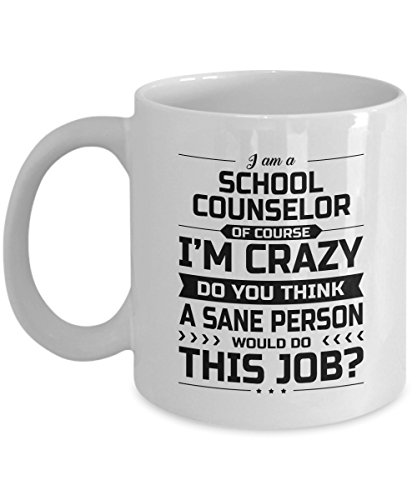 School Counselor Mug - I'm Crazy Do You Think A Sane Person Would Do This Job - Funny Novelty Ceramic Coffee & Tea Cup Cool Gifts for Men or Women with Gift Box