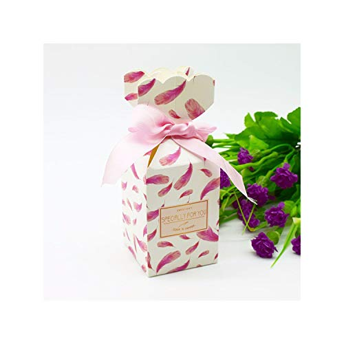 New Multicolor Fishtail Paper Candy Box Wedding Favors Gift Boxes with Ribbon Baby Shower Birthday Home Party Supply Decoration,Pink,5.8x5.8x15cm,20 PCS