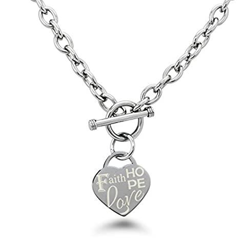 Stainless Steel Faith Love Hope Engraved Heart Tag Charm, Necklace Only (Heart Toggle Chain Necklace)