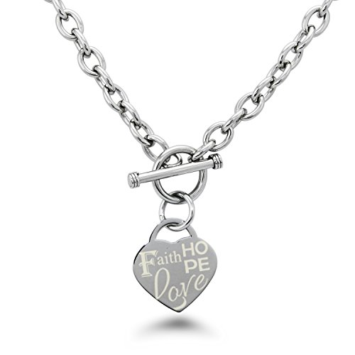 Stainless Steel Faith Love Hope Engraved Heart Tag Charm, Necklace - Tiffany Co Toggle Necklace