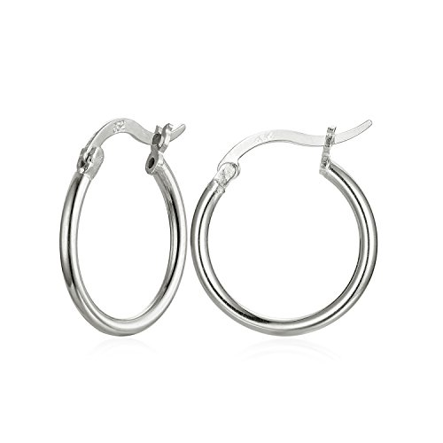 Sterling Silver Hoop Earrings, High Polished Round-Tube Small Hoop Earrings in 18K Gold Rose Gold Silver, 3 Size