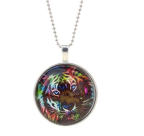 Tiger Time Glass Alloy Pendant Necklace with Chain-My#10F