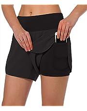 Jogoi Shorts Mujer Deportivos 2 In 1 Pantalones Cortos para Correr Licra Forro con Bolsillos Incorporado Secado Rápido Transpirable para Running Gym Entrenamiento