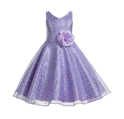 ekidsbridal Polka Dot V-Neck Rhinestone Organza Flower Girl Dresses Graduation Dress Toddler Dresses 184T 8 -
