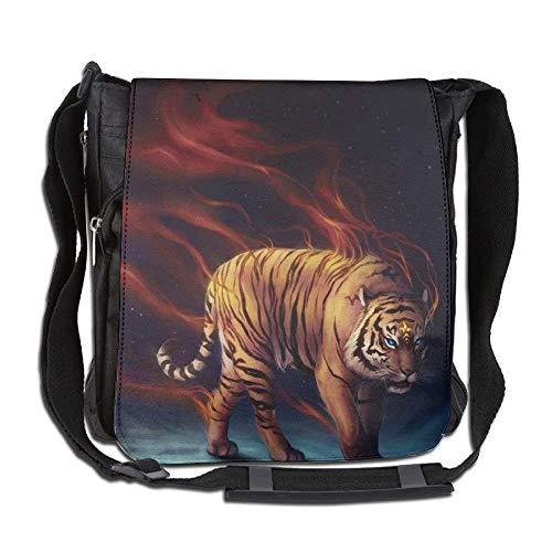 (Flaming Tiger Moon Fashion Print Diagonal Single Shoulder Bag)