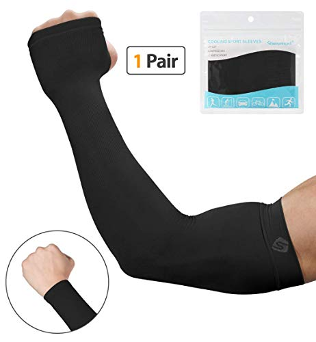 SHINYMOD UV Protection Cooling Arm Sleeves for Men Women Sunblock Cooler Protective Sports Gloves Running Golf Cycling Basketball Driving Fishing Long Arm Cover Sleeves (1 Pair Black)