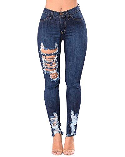 Pantalon Denim en Taille Trous Crayon Femme Rtro Fonc Pantalons ZhuiKun Jeans Slim Haute Dchirs Bleu na7SwZxH