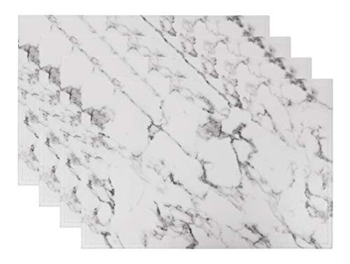 - Jovono Marble Faux Laether PU Placemats, Set of 4, Easy to Clean, Heat & Stain Resistant for Conference Table,Dinging Home Office Decor