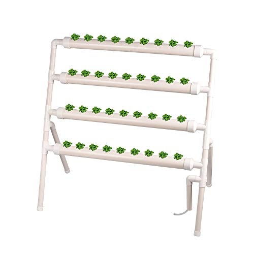 Giraffe-X Hydroponic Grow Kit 36 Plant Sites 4 Pipes Standing Type Hydroponic Planting Equipment Ebb and Flow Deep Water Culture Balcony Garden System Vegetable Tool Grow Kit