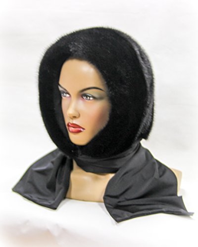 Black Mink Fur Shawl with Hood by FurHats&Caps