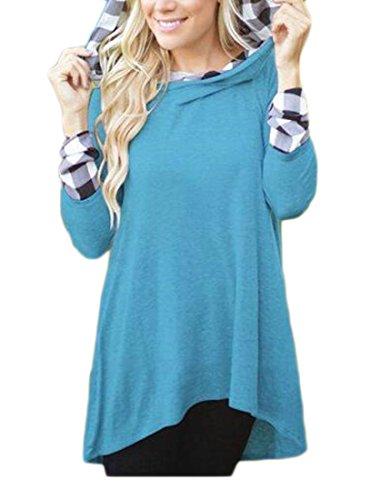 Sleeve Contrast 3 Jaycargogo Hooded Hem Womens Color Irregular Long Stitching Plaid Dress qpP8EwF