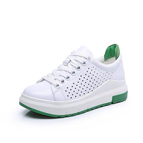 Leder Dicke Pine Cake Bottom Small White Shoes,Koreanische Version Gürtel Sport Freizeit White Board Schuhe E