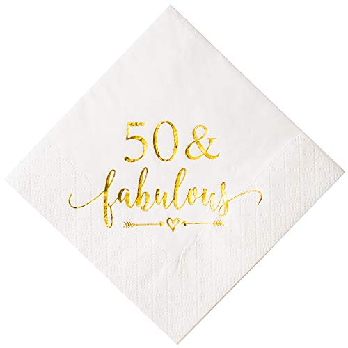 Crisky 50 and Fabulous Cocktail Napkins Gold for Women 50th Birthday Decorations, 50th Birthday Bevergae Dessert Table Supplies, 50Pcs, 3-Ply