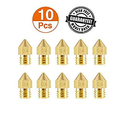 Aokin 10PCS 3D Printer Nozzles, Upgrade Abrasion Resistant 0.4mm MK8 Extruder Nozzles, Brass 3D Extruder Nozzle for 3D Printer Anet A8 Makerbot Creality CR-10 Ender 3
