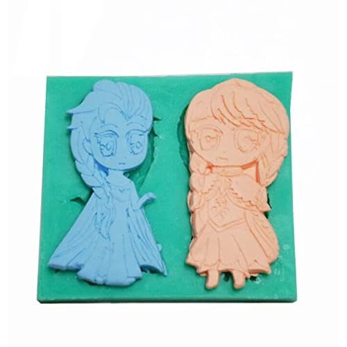 Frozen Sparkle Anna and Elsa Silicone Fondant Mold Chocolate Mold Candy Mold Cake Decorating Mold