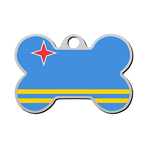 (YIGEREEN Personalized Collar Tag Pet ID Tags for Cat and Dog - Bone Shape Aruba Flag )