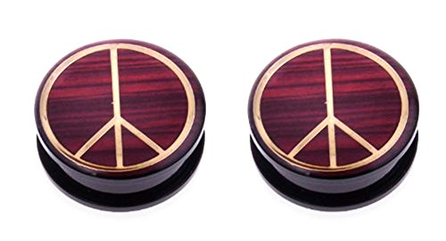 JewelryVolt Acrylic Screw on Plug with Gold Tone Peace Sign and Wood-Like Background - Wood Sign Surfer