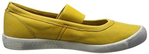 Washed 003 Ion446sof Softinos Yellow Donna Chiusa Punta Giallo Ballerine Yellow 456pzq