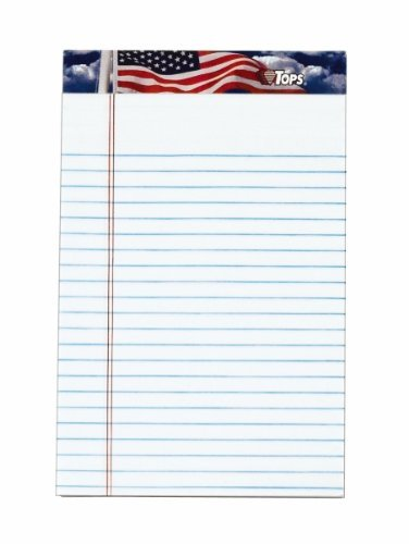 American Pride Writing Pad, Jr. Legal Rule, 5 x 8, White, 12 50-Sheet Pads/Pack by Tops by Tops