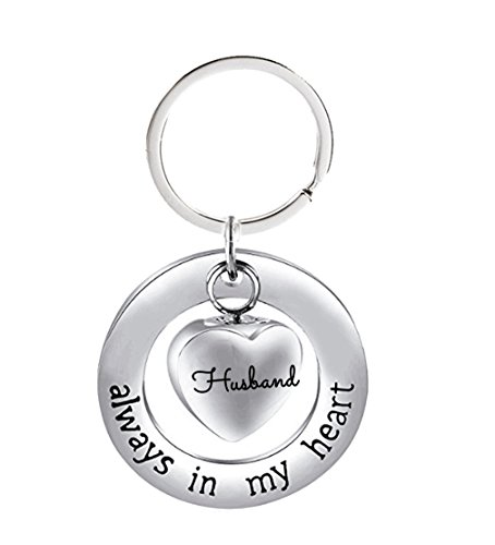 NextStone Husband Stainless Steel Always in My Heart Ashes Urn Necklace Heart Pendant Keychain Cremation Jewelry Gift (Keychain Jewel)
