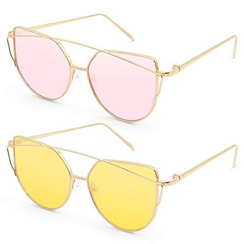 Livhò Sunglasses for Women, 2 Pack Cat Eye Mirrored + Transparent Flat Lenses Metal Frame Sunglasses UV400 (Gold Pink + Gold Yellow) (Glasses Frames For 60 Year Old Woman)
