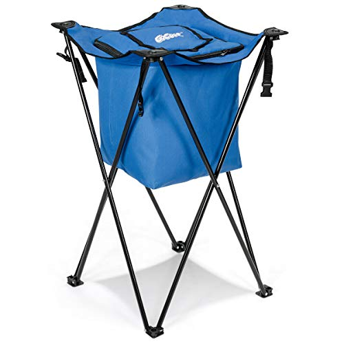 Heavens Tvcz Cooler Blue Tub Party Beverage Picnic Ice w/Folding Stand & Carry Bag Leakproof Portable Plus Portable Drink Can Stand Bar for many outdoor activities, such as party, camping, ()