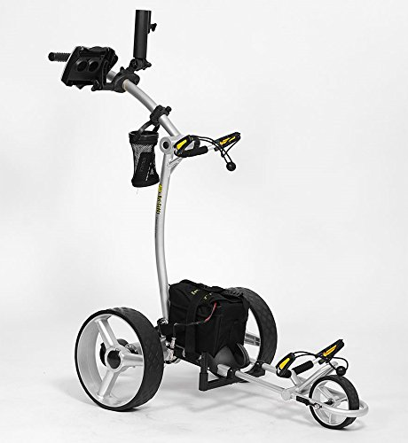 Bat-Caddy X4 Sport Electric Push Cart w/ Free Accessory Kit, 35Ah, Silver best to buy