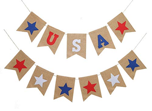 Ucity  USA Banner Patriotic Burlap Bunting Garland 4th of July Decorations for American Independence Day National Day Celebration