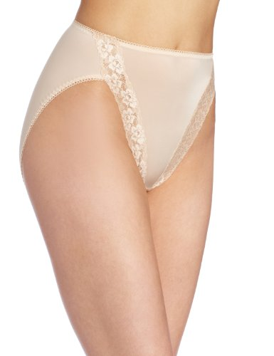 Wacoal Women's Bodysuede Lace Hi-Cut Panty Brief Panty, Naturally Nude, 8
