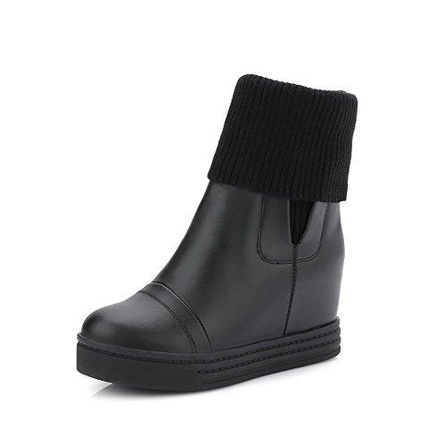 AgooLar Damen Rein Hoher Absatz Rund Zehe Weiches Material Ziehen auf Stiefel Schwarz