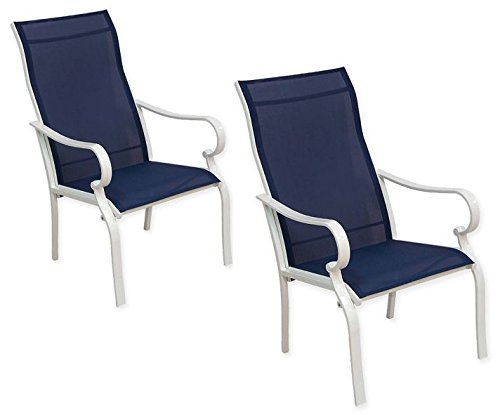 Never Rust Powder Coated Aluminum Frame Stackable Sling Dining ArmChairs with Weather-resistant Textilene Swing Fabric, Exceptionally Durable and Amazingly Comfortable. Set of ()