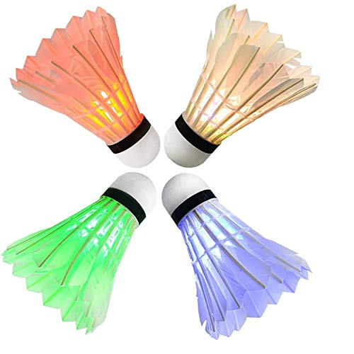 (Arespark LED Badminton Shuttlecock, Dark Night Colorful LED Goose Feather Glow Birdies Lighting, Light Up Shuttle-Cocks Badminton Balls for Outdoor & Indoor Sports Activities, 4-Pack)