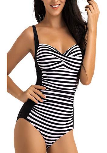WIN.MAX Damen Bademode,One Piece Push up Badeanzug,Damen Badeanzug mit V-Form Ausschnit,Verstellbarer überkreuzten Schwimmanzug Minimalismus feminisiertes Design