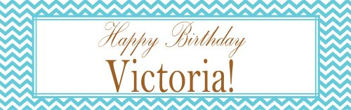 Teal Chevron Personalized Birthday (Personalized Birthday Banners)