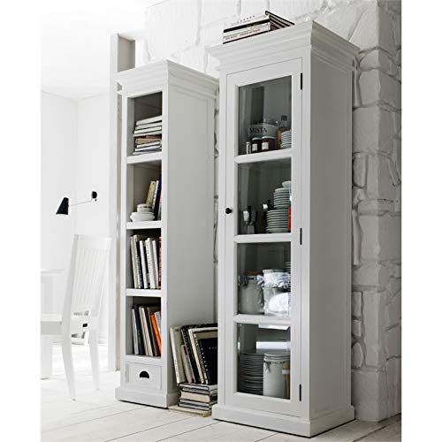 NovaSolo Halifax Pure White Mahogany Wood Single Display Stand With Glass Door And 4 Shelves