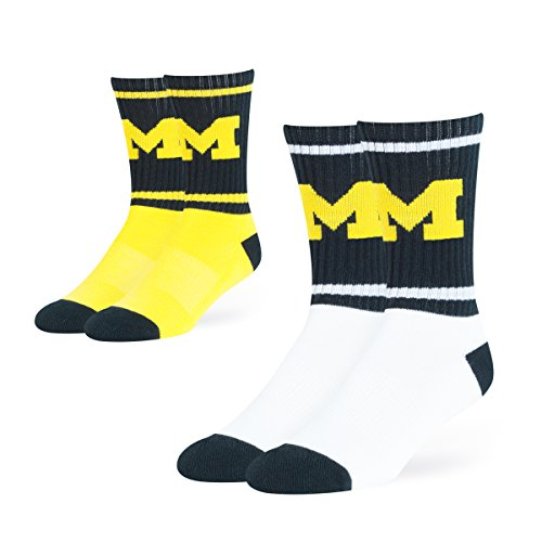 OTS NCAA Michigan Wolverines Dasher Sport Socks (2 Pack), Large, Team Color