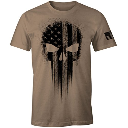 USA Military American Flag Black Skull Patriotic Men's T Shirt (Brown Savanna, XL)