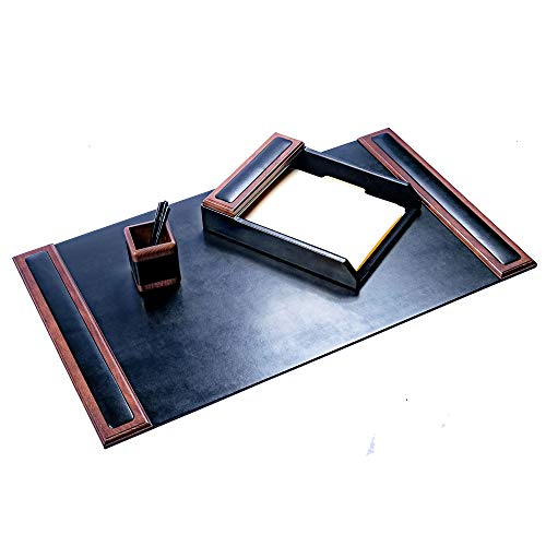 Dacasso Walnut and Leather Desk Set, - Piece Accessory 3 Leather Desk