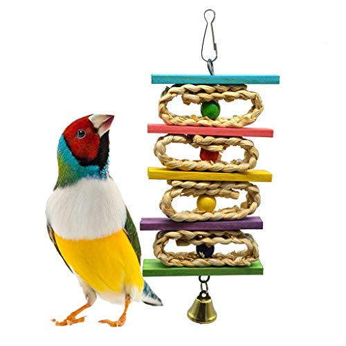 Clearance!Jiayit Bird Toys Hanging Wooden Shaft Molar String Foraging Star Bird Parrots Bell Toy Multicolor Interesting ()