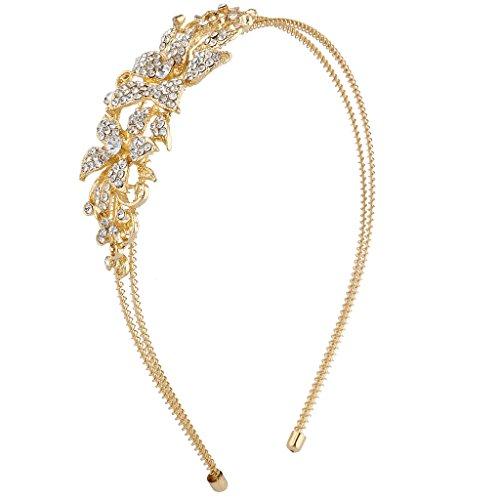 Pave Rhinestone Flower (Lux Accessories Gold Tone Crystal Pave Rhinestone Flower Coil Headband)