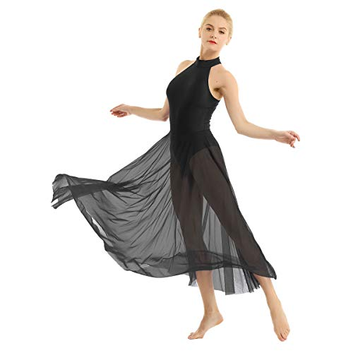 Dance Competition Contemporary Costumes - inlzdz Women's Lyrical Mock Neck Ballet
