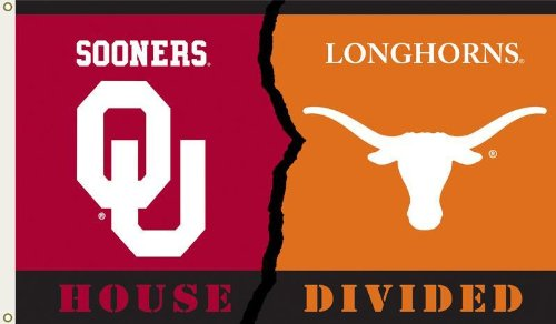NCAA Oklahoma - Texas 3-by-5 Foot Flag with Grommets - Rivalry House Divided