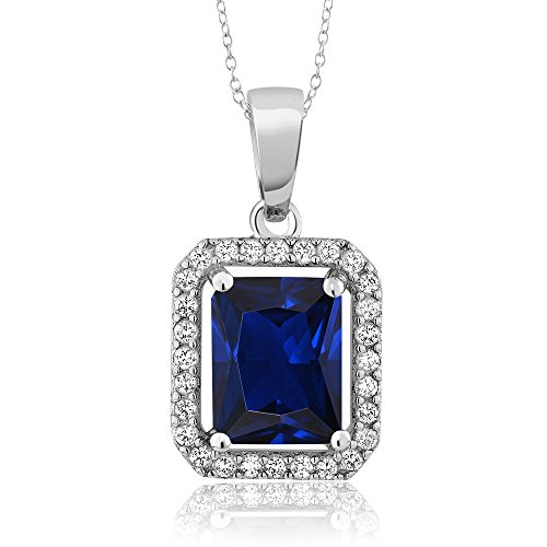 (Gem Stone King 925 Sterling Silver Blue Simulated Sapphire Pendant Necklace, 3.06 Cttw Emerald Cut with 18 Inch Sterling Silver Chain)