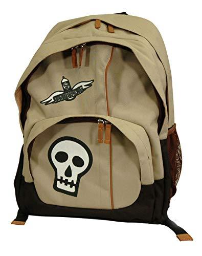 (Retro Punk-Style Canvas Backpack (Light Olive w/Skull)